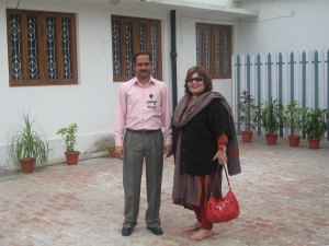 Dr. Afshan Hashmi standing on Right and Mr. Rashid on Left inside AMU VC Lodge